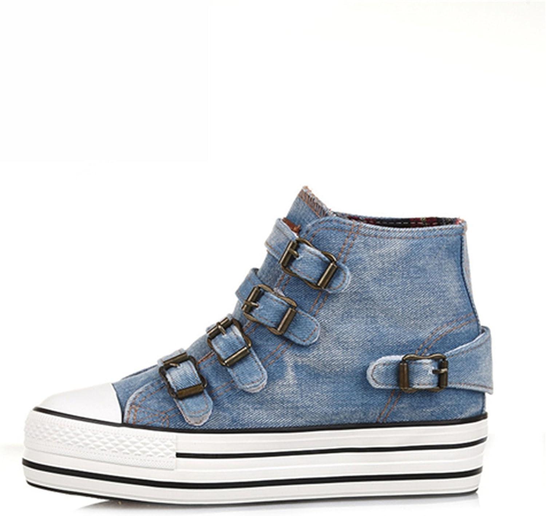 Mandaartins Canva shoes Women Denim shoes Hide Wedges Canvas Womens shoes Lace Up Casual shoes Sapatilha YD135