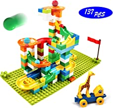 Marble Run Building Blocks, 137 PCS Classic Big Building Blocks STEM Toy Bricks Set Kids Race Track Compatible with All Major Brands Bulk Bricks Set for Boys Girls Toddler Age 3,4,5,6,7,8+