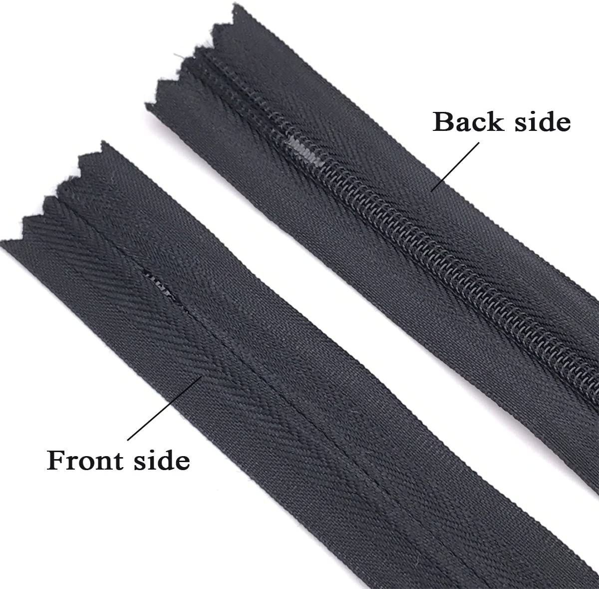 Skirts Sewing Craft Pillows 25pcs Nylon Invisible Zippers for Dresses 16 inch, Black