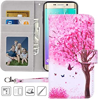 S6 Wallet Case, Galaxy S6 Case, MagicSky Premium PU Leather Flip Folio Case Cover with Wrist Strap,Card Holder, Cash Pocket, Kickstand for Samsung Galaxy S6 (Pink Tree)