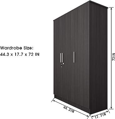 CozyCasa Bedroom Armoire Wardrobe Wooden Closet Clothes Cabinet Storage with 3 Doors, Shelves, Hanging Rod, Wood Wardrobe Clo