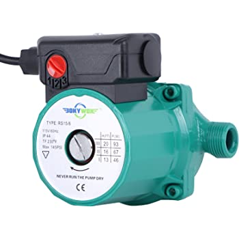 BOKYWOX 110V NPT3/4'' Domestic Hot Water Circulation Pump 3-Speed Hot Water Recirculating Pump 93W Circulator Pump for Solar Heater/Faucet(RS15/6G)
