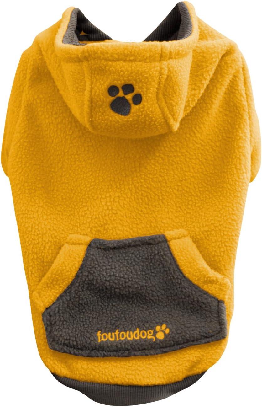 FouFou Dog 割り引き Fou-lar Fleece Hoodie 直営ストア Dogs 2X-Large for Yellow