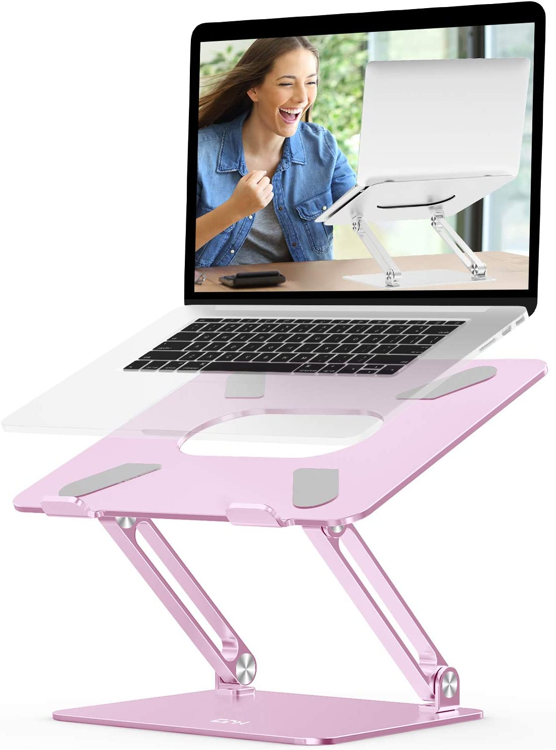 EPN Laptop Stand, Ergonomic Aluminium Alloy Computer Riser Adjustable Height Portable Holder for Desk with Heat-Vent, Compatible for MacBook Pro/Air, Dell XPS, HP, Samsung Laptops Up to 17