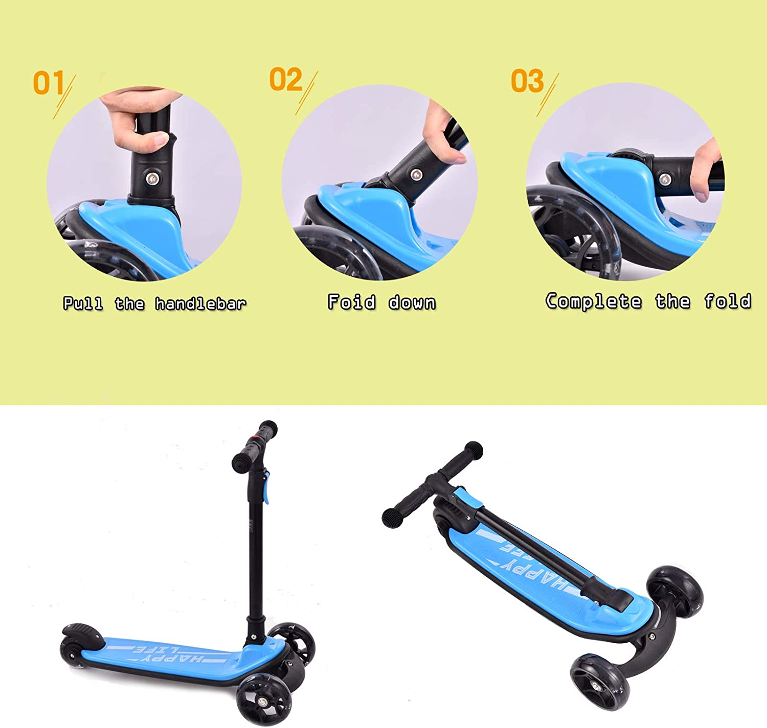 Unisex Height Adjustable Suitable for Children Aged 3-8 Foldable Bellanny Childrens Scooter with LED Wheels Three-Wheeled Scooter