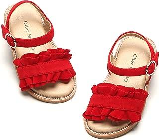 Girls Sandals Open Toe Princess Flat Sandals with Ruffle Summer Sandals (Toddler/Little Kid)