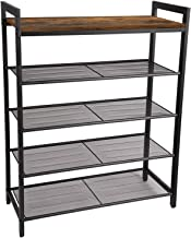 JPNTOYE Shoe Rack, 5-Tier Shoe Organizer Shelf, Durable and Stable for Entryway, Hallway, Closet, Dorm Room, Industrial, R...