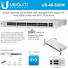 UniFi Switch PoE US-48-500W Switch Managed PoE+ Layer 2 Gigabit with SFP 500 Watts - 70 Gbps