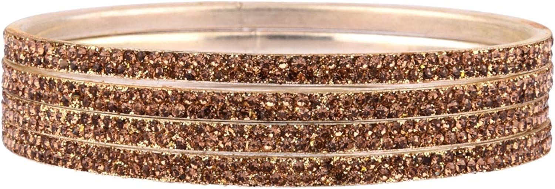 Efulgenz Rhinestone Crystal Indian Bangle Bracelet Set Jewelry for Women Girls