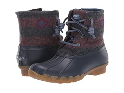 Sperry Kids Saltwater Boot (Little Kid/Big Kid) (Navy/Maroon) Girls Shoes