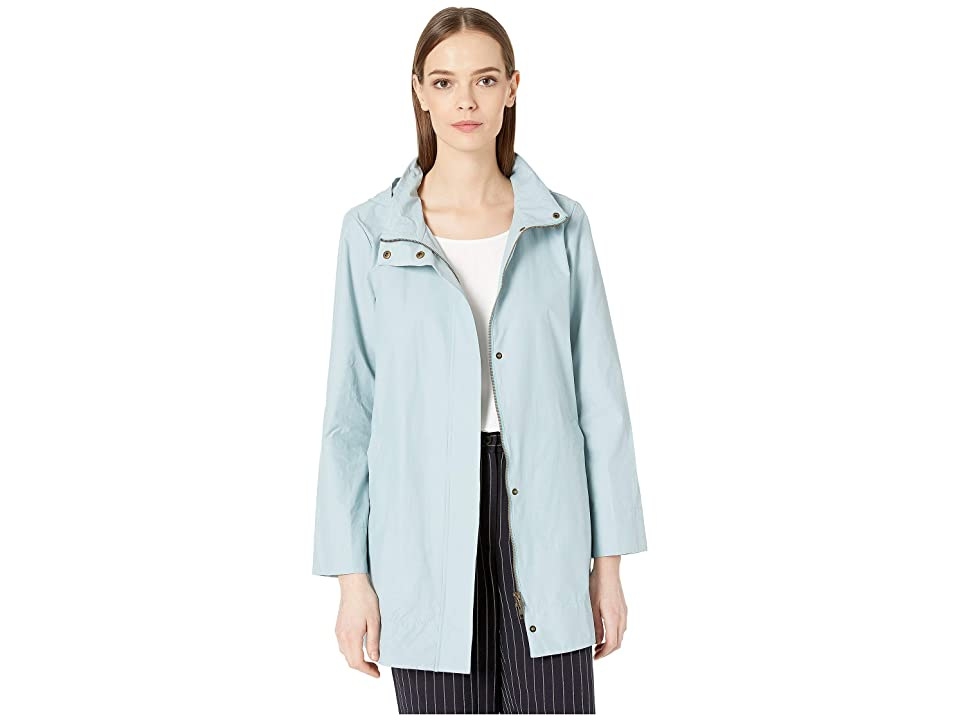 Eileen Fisher Stand Collar A-Line Long Jacket w/ Hidden Hood (Blue Ivy) Women