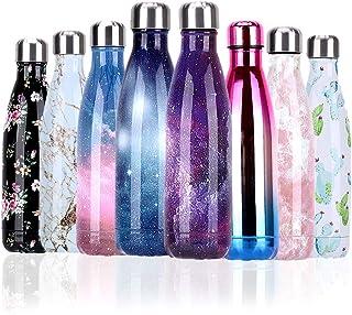 YCLIFE Botella Agua de Acero Inoxidable 500ml, Nuevo Diseño Sin BPA, Aislamiento de Vacío de Doble Pared Durante 24 Horas Frío y 12 Cálido, Deporte, Exterior, Gimnasio