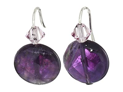 Alex and Ani Amethyst Gemstone Earrings (Sterling Silver) Earring