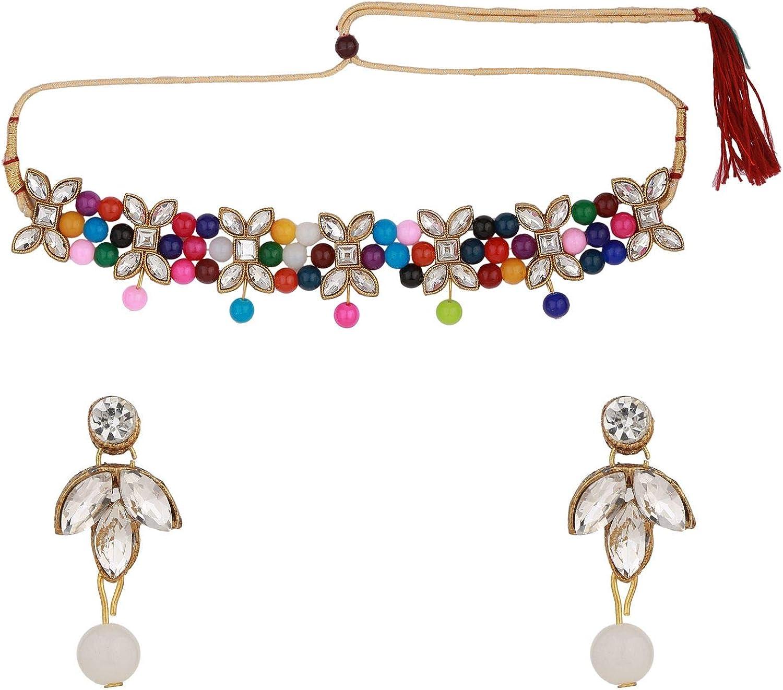Efulgenz Indian Antique Faux Gemstone Pearl Beads Choker Neckalce Earrings Wedding Bridal Jewelry Set