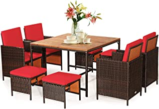 Tangkula 9 Pieces Wood Patio Dining Set, Space Saving Wicker Chairs and Wood Table with Umbrella Hole Outdoor Furniture Se...