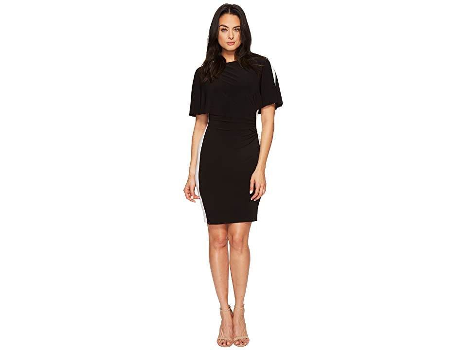 LAUREN Ralph Lauren Poline Two-Tone Matte Jersey Dress (Black/Lauren White) Women
