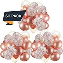 60 Pack Rose Gold Balloons + Confetti Balloons w/Ribbon   Rosegold Balloons for Parties   Bridal & Baby Shower Balloon Decorations   Latex Party Balloons   Graduation, Engagement, Wedding & Birthday