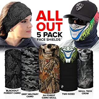 S A - UV Face Shields 5 Pack - Multipurpose Neck Gaiter, Balaclava, Elastic Face Mask for Men and Women