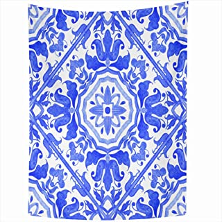 Ahawoso Tapestry 60x80 Inch Watercolor Talavera Portuguese Azulejo Tiles Blue White Pattern Vintage Geo Mexican Navi Victorian Floral Porto Tapestries Wall Hanging Home Decor Living Room Bedroom Dorm