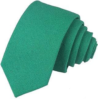 Men's Cotton-flax Skinny Necktie Solid Color Slim Ties For Men 2.4'' (6cm) + Gift Box