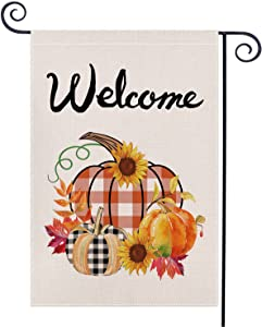 Welcome FallGardenFlag, Pumpkinand Flower Sign Burlap YardFlag - Double Sided Autumn GardenFlags forOutsideGarden Yard Lawn Decoration(12.5 x 18.5 Inch)