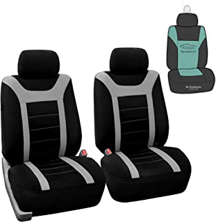 FH Group Sports Fabric Car Seat Covers Pair Set (Airbag Compatible), Gray/Black- Fit Most..