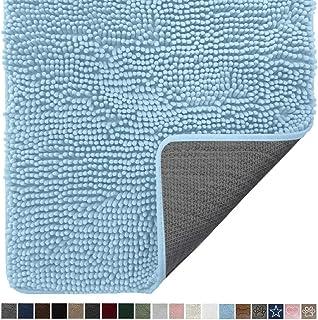 Gorilla Grip Original Indoor Durable Chenille Doormat, 24x17, Absorbent Washable Inside Mats, Low-Profile Rug Doormats for Entry, Mud Room Mat, Back Door, High Traffic Areas, Light Blue