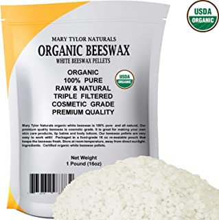 White Beeswax Pellets (1 lb), Certified Organic by Mary Tylor Naturals, Premium Quality, Cosmetic Grade, Triple Filtered Pastilles Great for DIY Lip Balm Recipes Body Creams, Lotions, Deodorants