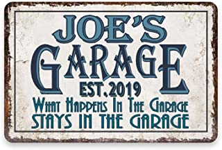 aianhe Personalized Garage Sign Vintage Look Art Decoration Metal/Wooden Plaque Wall Decor Customized Gift for A Man Him M...