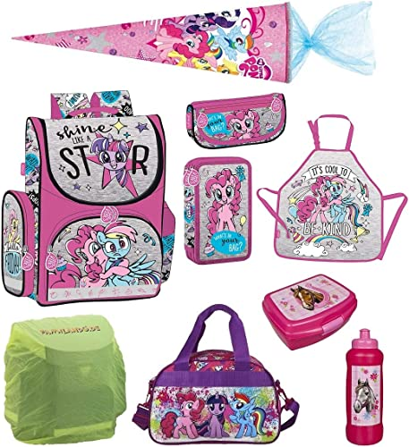 Familando My Little Pony Schulranzen-Set 9 TLG. mit Schultüte 70cm, Sporttasche, Regenschutz und Federmappe Einhorn Regenbogen
