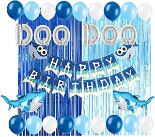 Baby Shark Party Supplies Decorations Foil Balloons Shark Birthday Banner for Baby Shower Birthday Party set