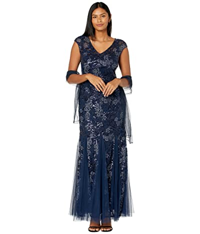 Alex Evenings Long Embroidered Fit-and-Flare Dress with Godet Detail Skirt and Shawl