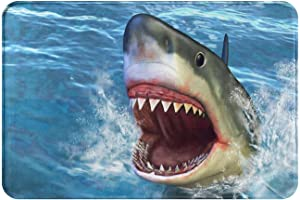 Shark Bath Mat, Great White Shark Jumping Out of Water with Its Open Mouth, Bathroom Bedroom Kitchen Decor Mat with Non Slip Washable Durable, 23.5