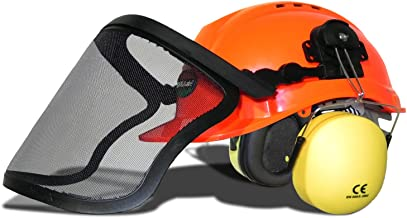 WOODSafe® bosbouwhelm, oranje, inclusief gehoorbescherming, klapvizier, nekbescherming, veiligheidshelm voor bosarbeiders ...