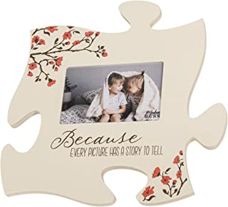 P. Graham Dunn Every Picture Has a Story to Tell White Floral 12 x 12 Wall Hanging Wood Puzzle Piece Photo Frame