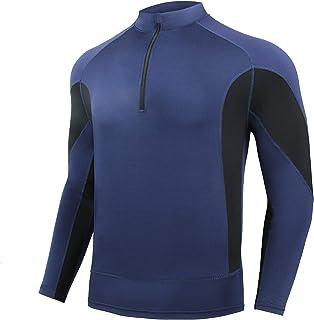 AMZSPORT Sudaderas Hombre Camiseta Deportiva de Manga Larga con Cremallera 1/4 para Correr Gimnasio Golf Ciclismo