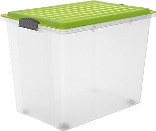 Rotho–Caja para Guardar Compact Transparente con Tapa, plástico, Transparente y Verde, A3 / 70 l
