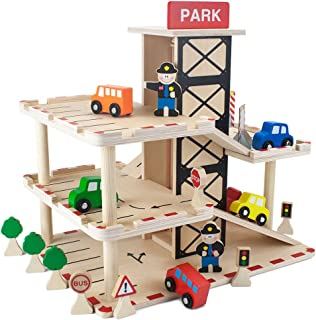 Imagination Generation Downtown Deluxe Wooden Parking Garage Ramp & Service Station Playset with Elevator, Signs & Accesso...
