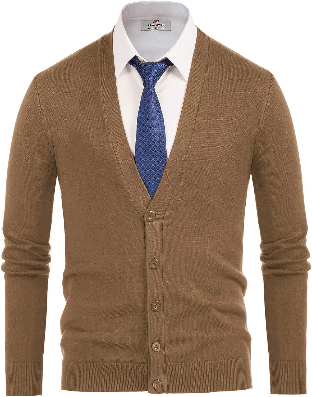 Paul Jones Men's Over item handling Stylish V-Neck Button Cardigan Placket Regular discount Sweater