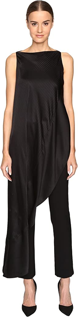 Zac Posen - Stripe Charmeuse Asymmetrical Top