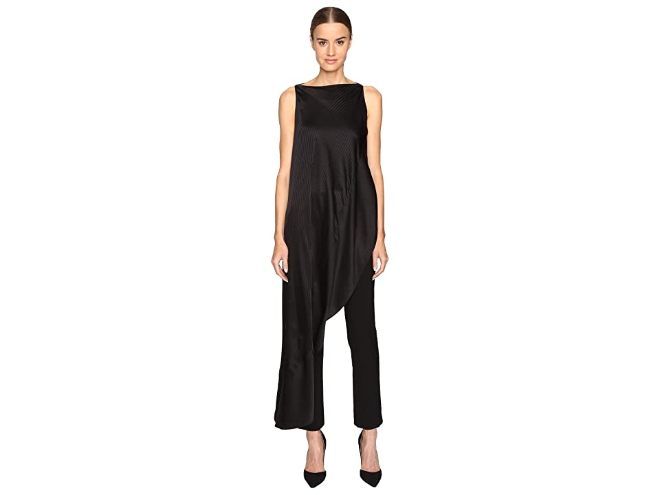 Zac Posen Stripe Charmeuse Asymmetrical Top (Black) Women