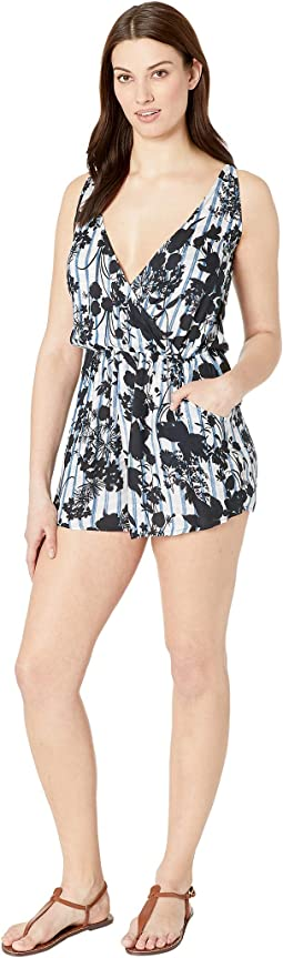 On the Grid Shoulder Tie Romper Cover-Up