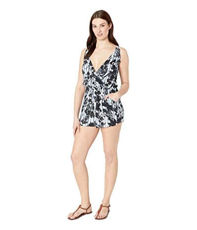 Lucky Brand On the Grid Shoulder Tie Romper Cover-Up (Ink Blue) Women
