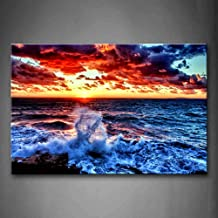 First Wall Art - Sea Spray And Sunrise Wall Art Painting The Picture Print On Canvas Seascape Pictures For Home Decor Decoration Gift