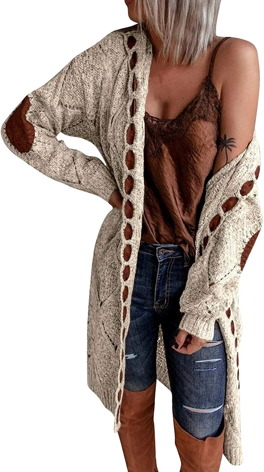 TOLENY Women's Vintage Patchwork Long Cardigan Long Sleeve Open Front Cable Knit Loose Sweater