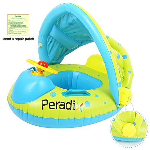 Peradix Baby Swimming Pool Float Boat Trainer Seat Inflatable Swim Rings  with Repair Patch and Adjustable 75697e6008