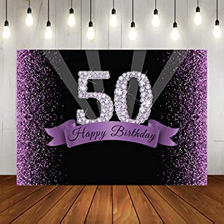 Happy 50th Birthday Party Backdrop Glitter Purple and Black Dots Background for Adult Woman Birthday Party Banner Decorations Shining Diamond Number 50th Birthday Backdrops for Photo Studio Props 7x5f
