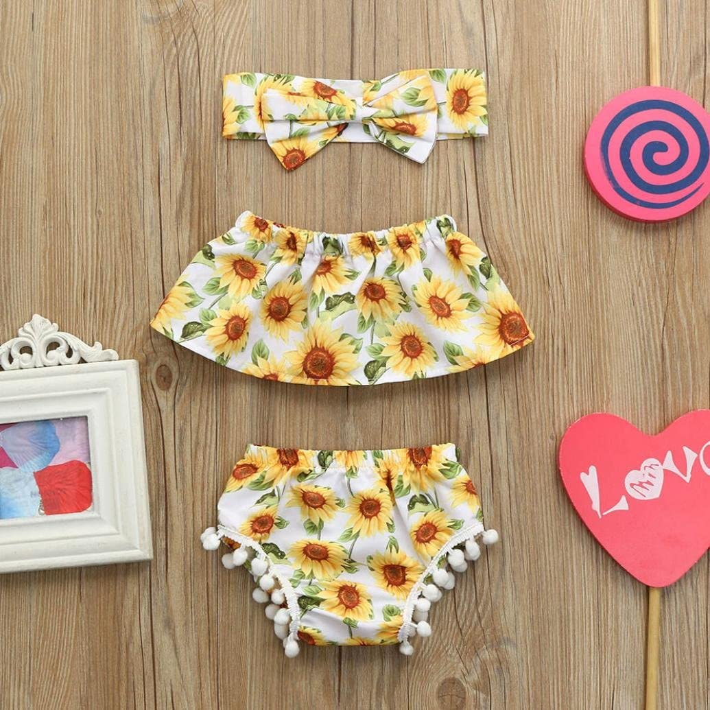 Shorts 2018 Toddler Baby Girls Summer Outfits Sunflower Print Off Shoulder Tops Headbands Clothes Set