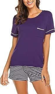 Womens Pajama Set Striped Short Sleeve Sleepwear Pjs Sets(S-XXL)