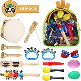 Kids Musical Instruments Set -15 Pcs Wooden Percussion Instruments Toy Early Learning Music Toy with Tambourine, Bell Stick, Maraca, Flute, Egg Shaker, Triangle, Finger Clapper, Tone Blocks with Bag